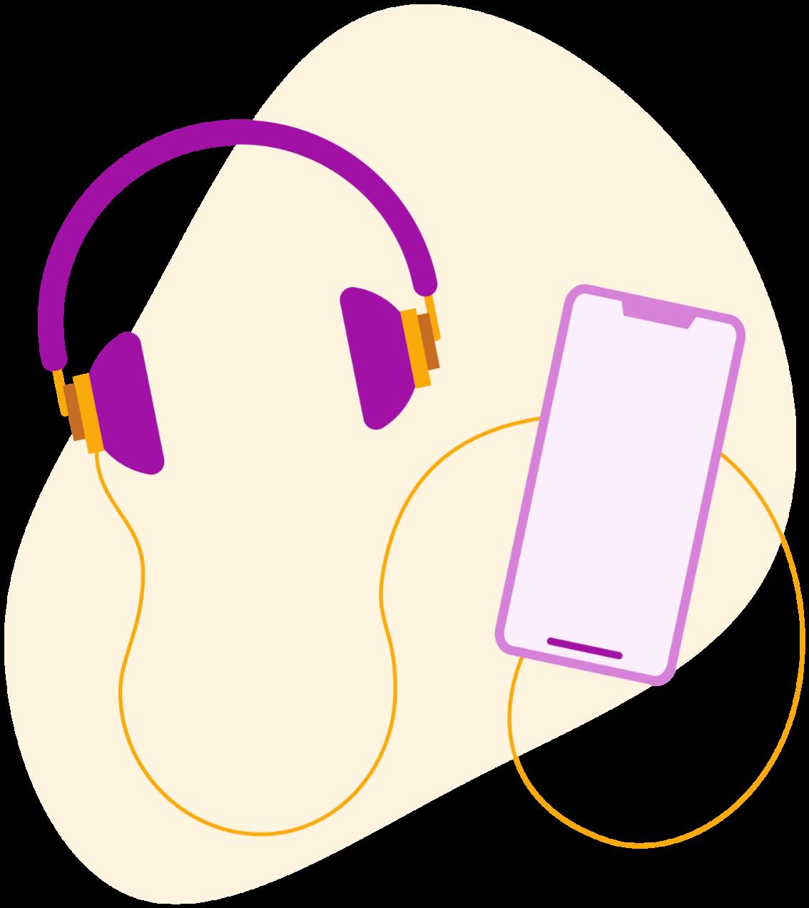 Écouteurs et téléphone pour écouter le podcast